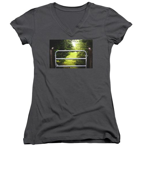 Women's V-Neck T-Shirt (Junior Cut) featuring the photograph Summer Vibes On The Farm by Shelby Young