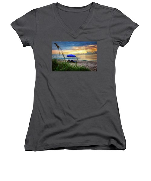 Women's V-Neck T-Shirt (Junior Cut) featuring the photograph Summer's Calling by Debra and Dave Vanderlaan