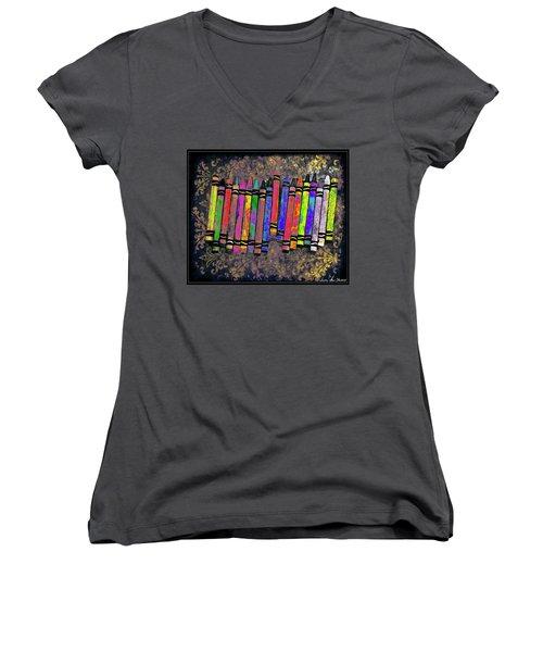 Summer's Crayon Love Women's V-Neck T-Shirt (Junior Cut) by Iowan Stone-Flowers