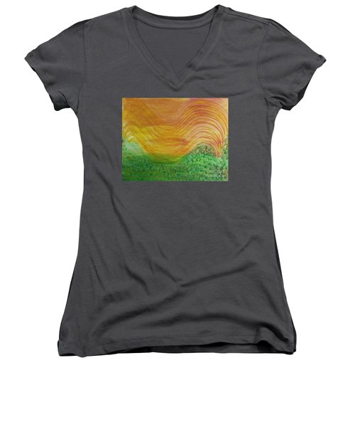 Sun And Grass In Harmony Women's V-Neck
