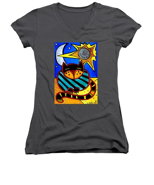 Sun And Moon - Honourable Cat - Art By Dora Hathazi Mendes Women's V-Neck T-Shirt (Junior Cut) by Dora Hathazi Mendes