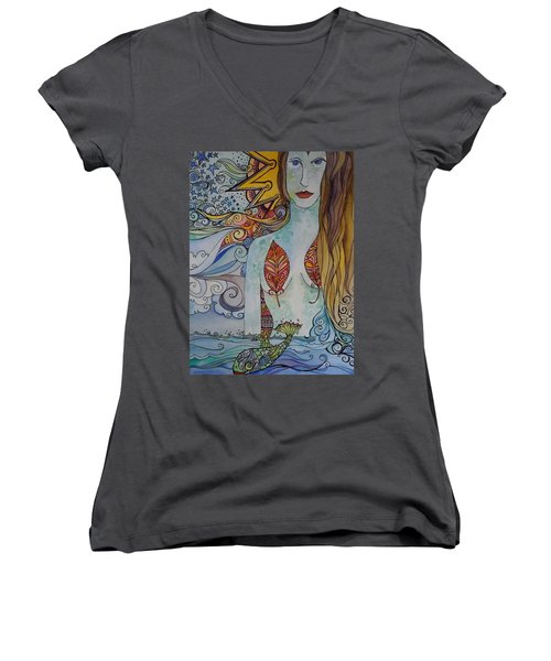 Sun And Sea Godess Women's V-Neck T-Shirt (Junior Cut) by Claudia Cole Meek