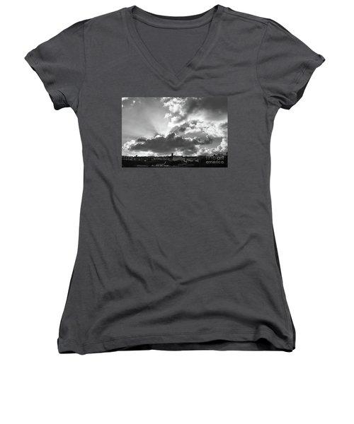 Sun Beams Over Church Women's V-Neck T-Shirt (Junior Cut) by Nicholas Burningham