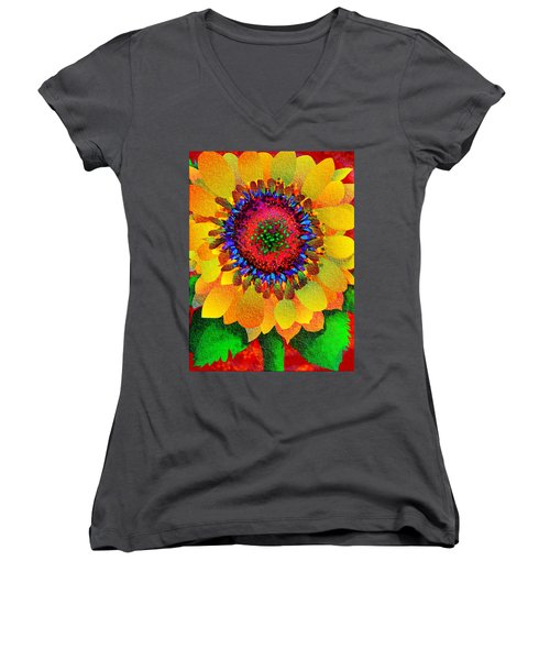 Sun Burst Women's V-Neck T-Shirt