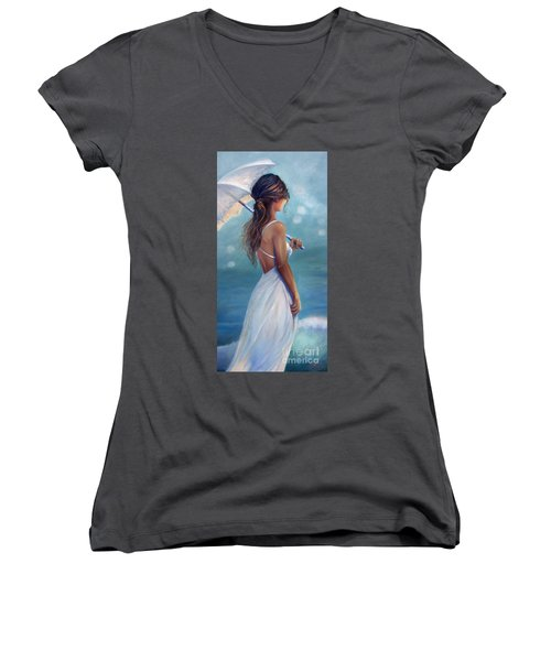 Women's V-Neck T-Shirt (Junior Cut) featuring the painting Sun Kissed by Michael Rock