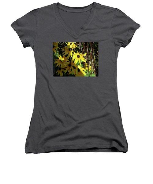 Sun Lit Diasies Women's V-Neck T-Shirt