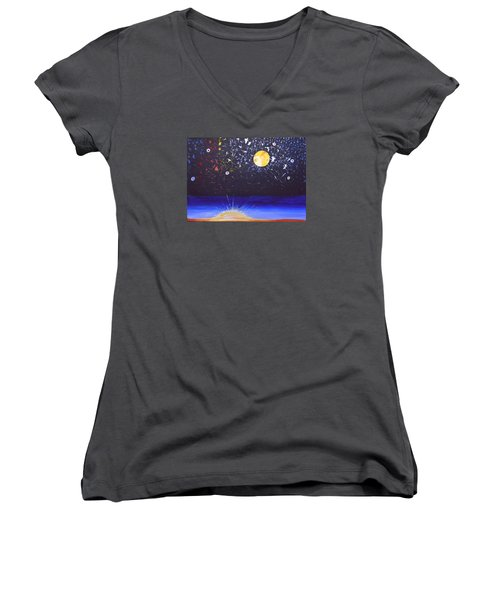 Sun Moon And Stars Women's V-Neck (Athletic Fit)