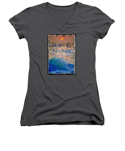 Sun Rays Abstract Women's V-Neck T-Shirt (Junior Cut) by Anthony Fishburne