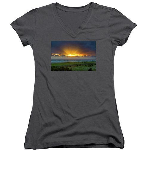 Sun Rays At Long Beach Washington During Sunset Women's V-Neck (Athletic Fit)