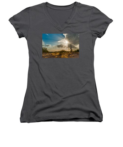 Women's V-Neck T-Shirt (Junior Cut) featuring the photograph Sun Rays In Tucson by Dan McManus