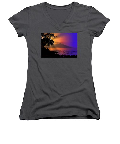 Women's V-Neck T-Shirt (Junior Cut) featuring the photograph Sun Rays Sunset by Lori Seaman