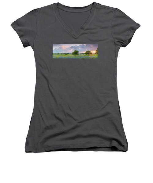 Sun Rising Over A Bluebonnet Field In Chappel Hill - Washington County Brenham Texas Women's V-Neck (Athletic Fit)