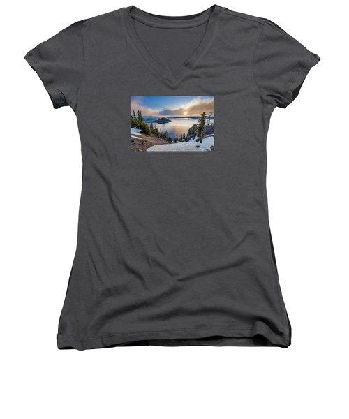 Sun Rising Through Mists Women's V-Neck T-Shirt (Junior Cut) by Greg Nyquist