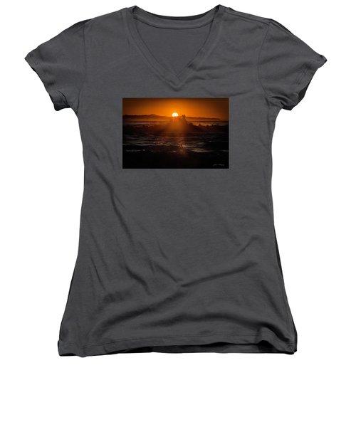 Sun Setting Behind Santa Cruz Island Women's V-Neck T-Shirt (Junior Cut) by John A Rodriguez