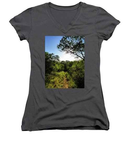 Sun Shining Over A Hiking Path In The Atlantic Forest Women's V-Neck