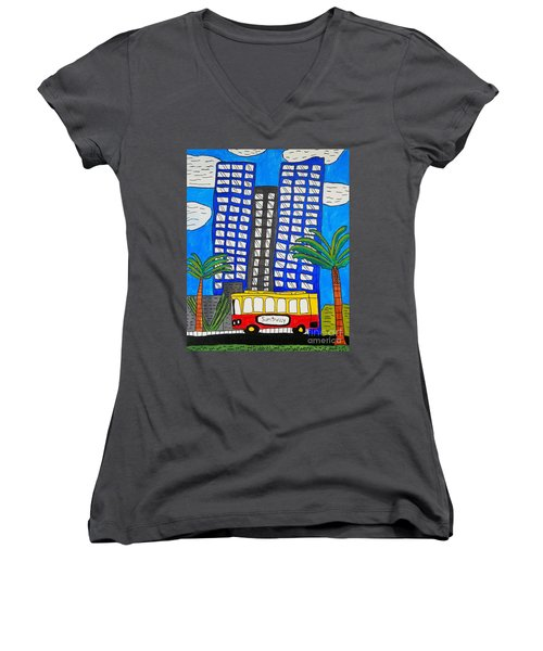 Sun Trolley Women's V-Neck T-Shirt (Junior Cut) by Brandon Drucker
