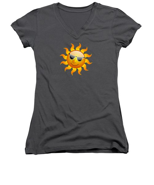 Women's V-Neck T-Shirt (Junior Cut) featuring the digital art Sun With Sunglasses by Movie Poster Prints