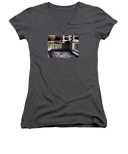 Women's V-Neck T-Shirt (Junior Cut) featuring the photograph Sun Writ by Betsy Zimmerli