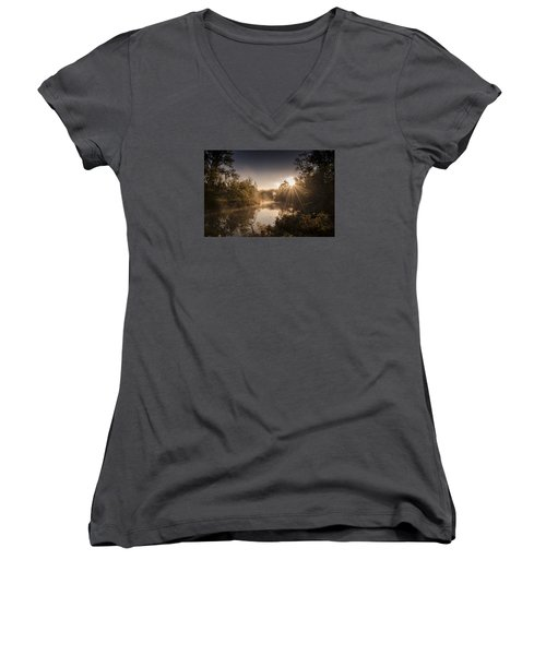 Women's V-Neck T-Shirt (Junior Cut) featuring the photograph Sunbeams  by Annette Berglund