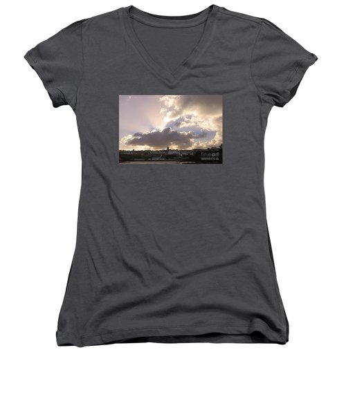 Women's V-Neck T-Shirt (Junior Cut) featuring the photograph Sunbeams Over Church In Color by Nicholas Burningham