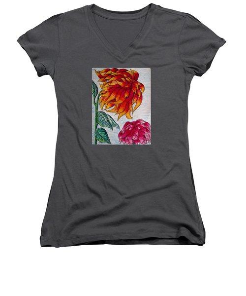 Sunburst And Peppermint Women's V-Neck T-Shirt (Junior Cut) by Megan Walsh