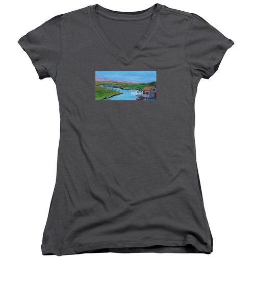 Sunday Afternoon On The California Delta Women's V-Neck T-Shirt (Junior Cut) by Mike Caitham