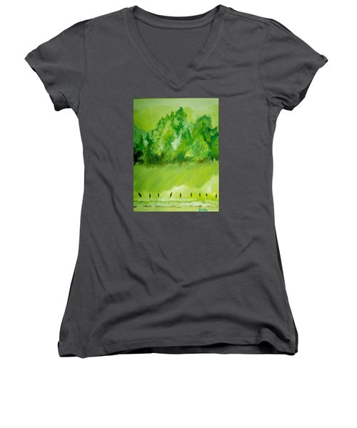 Women's V-Neck T-Shirt (Junior Cut) featuring the painting Sunday At Two Thirty by Seth Weaver