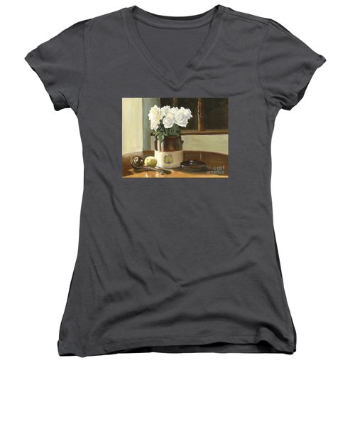 Women's V-Neck T-Shirt (Junior Cut) featuring the painting Sunday Morning And Roses - Study by Marlene Book