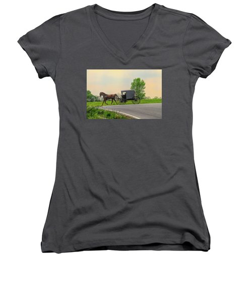 Sunday Ride At Sunset On Ronks Road Women's V-Neck (Athletic Fit)