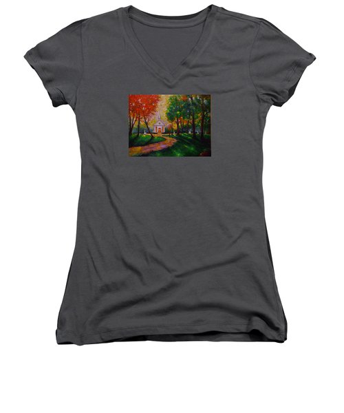 Women's V-Neck T-Shirt (Junior Cut) featuring the painting Sunday School by Emery Franklin