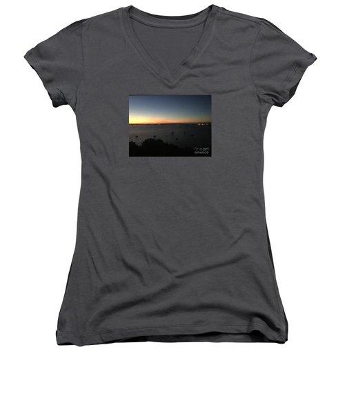 Sunday Sunrise, October 4, 2015, Casco Bay, Portland, Maine Women's V-Neck T-Shirt (Junior Cut)