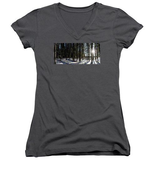 Sundial Forest Women's V-Neck T-Shirt (Junior Cut) by Brad Allen Fine Art