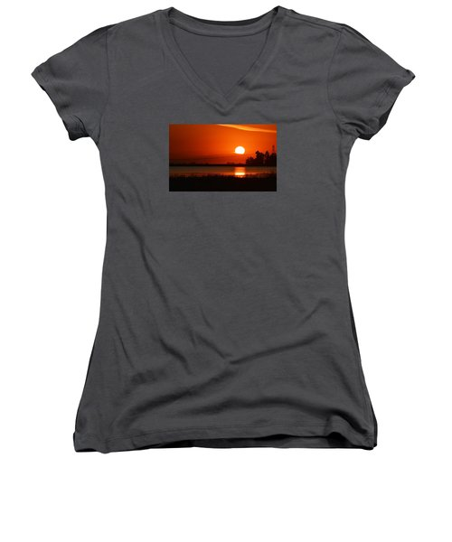 Sundown Women's V-Neck T-Shirt (Junior Cut) by AJ  Schibig