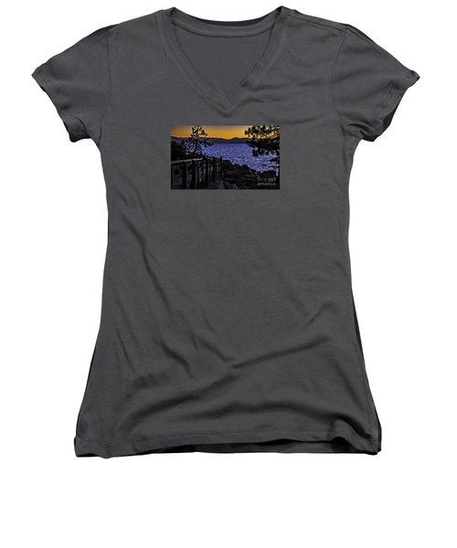 Women's V-Neck T-Shirt (Junior Cut) featuring the photograph Sundown At Sand Harbor by Nancy Marie Ricketts