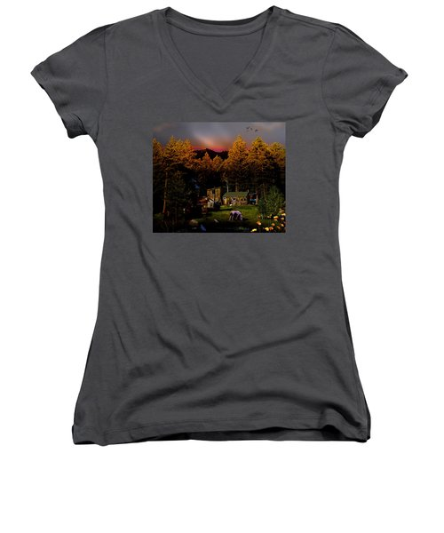 Sundown In The Rockies Women's V-Neck T-Shirt (Junior Cut) by J Griff Griffin
