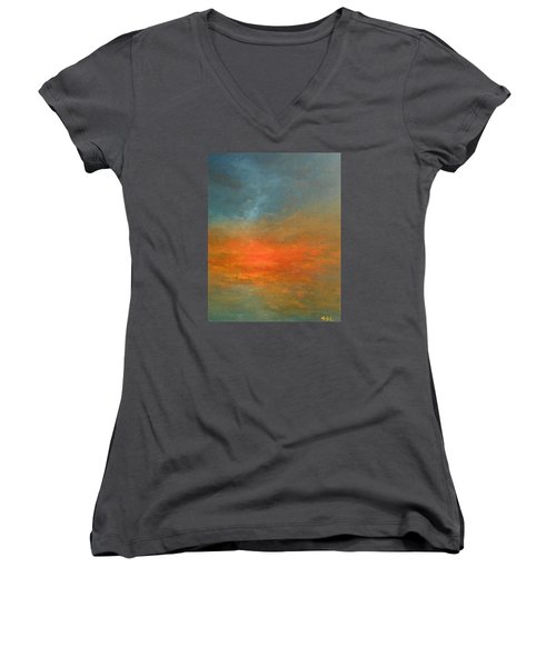 Women's V-Neck T-Shirt (Junior Cut) featuring the painting Sundown by Jane See
