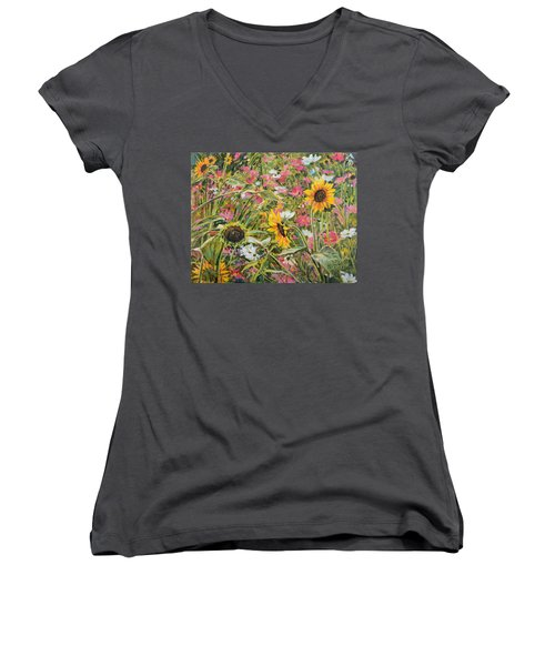 Women's V-Neck T-Shirt (Junior Cut) featuring the painting Sunflower And Cosmos by Steve Spencer