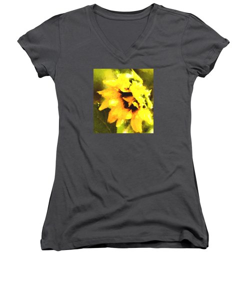 Sunflower Women's V-Neck T-Shirt (Junior Cut) by Cathy Donohoue