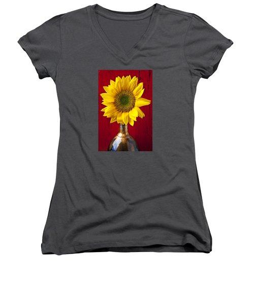 Sunflower Close Up Women's V-Neck