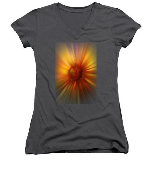 Sunflower Dawn Zoom Women's V-Neck T-Shirt (Junior Cut) by Debra and Dave Vanderlaan