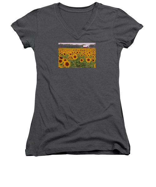 Sunflower Field One Women's V-Neck T-Shirt (Junior Cut) by Karen McKenzie McAdoo