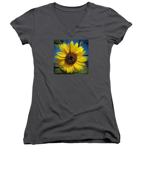 Sunflower Glow Women's V-Neck T-Shirt (Junior Cut) by Loriannah Hespe