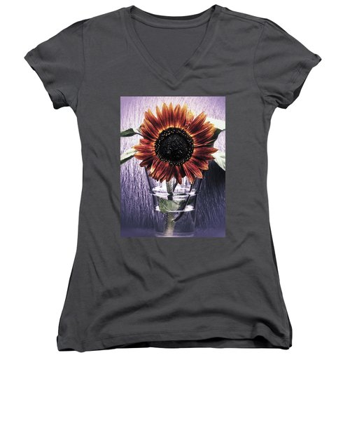 Sunflower In A Cup Women's V-Neck T-Shirt (Junior Cut) by Karen Stahlros