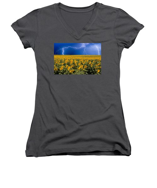 Sunflower Lightning Field  Women's V-Neck