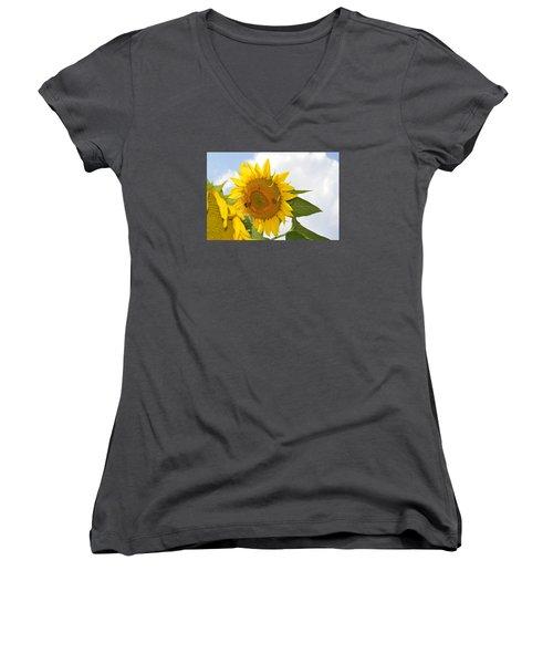 Women's V-Neck T-Shirt (Junior Cut) featuring the photograph Sunflower by Linda Geiger