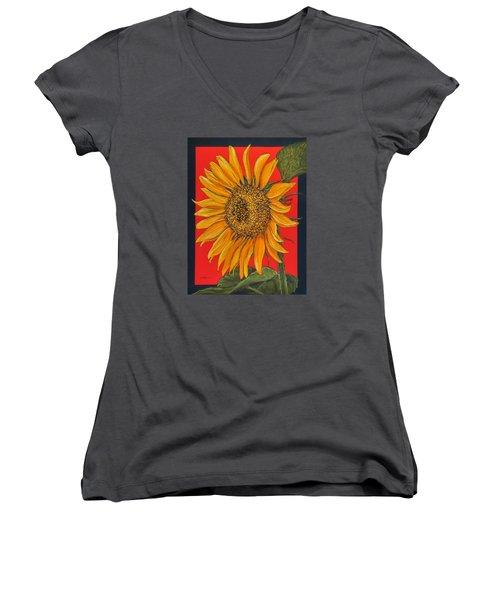 Da153 Sunflower On Red By Daniel Adams Women's V-Neck