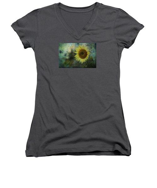 Sunflower Sea Women's V-Neck T-Shirt (Junior Cut) by Belinda Greb