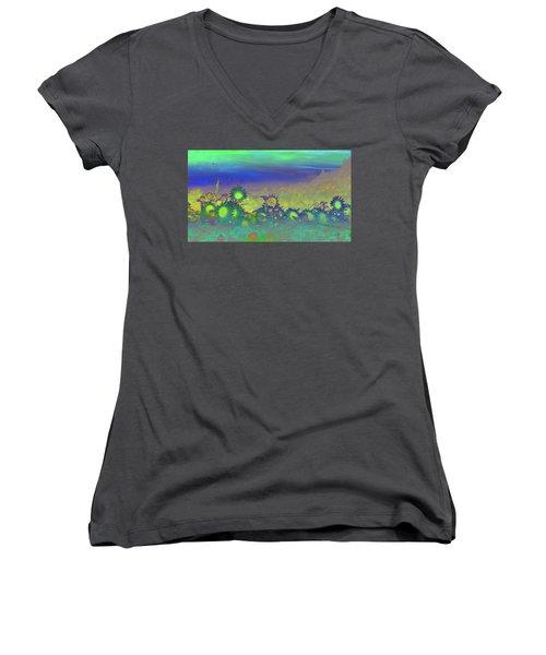 Women's V-Neck T-Shirt (Junior Cut) featuring the photograph Sunflower Serenade by Mike Breau