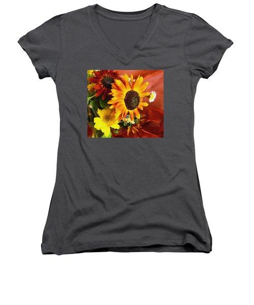 Women's V-Neck T-Shirt (Junior Cut) featuring the photograph Sunflower Strong by Kathy Bassett