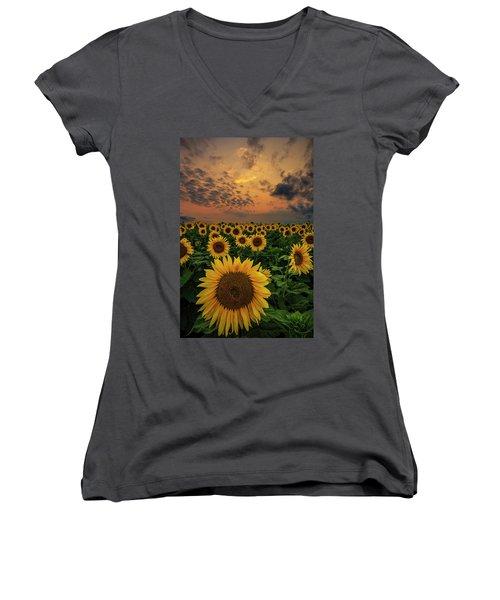 Women's V-Neck T-Shirt featuring the photograph Sunflower Sunset  by Aaron J Groen